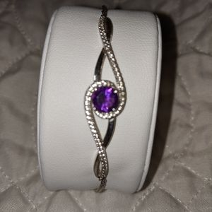 Amethyst Bracelet with Diamond Accent Crystal